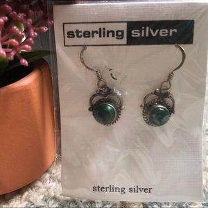 Sterling silver emerald green dangle earrings